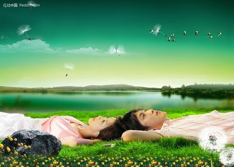 躺在草地上天空草地蒲公英湖畔湖边湖景美女帅哥人物