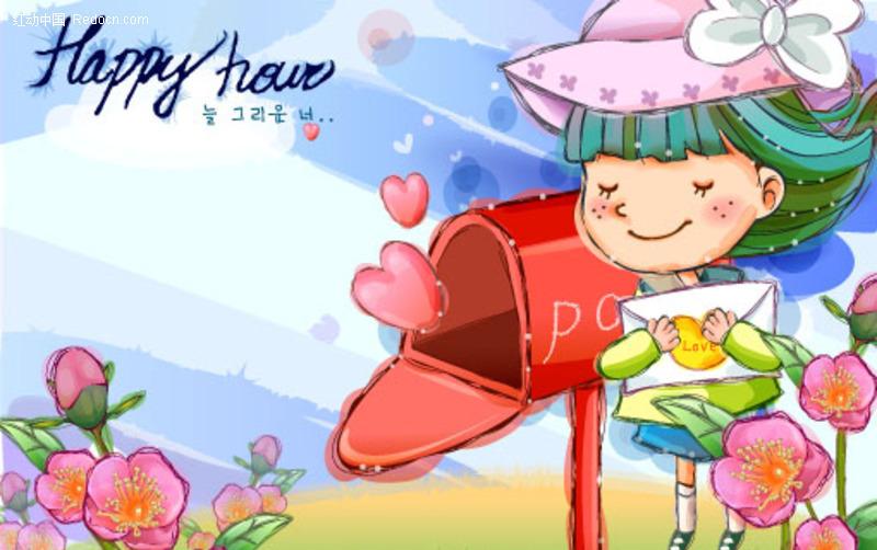 邮箱取信的女孩 六一儿童节矢量图素材下载 编号 29068 -邮箱取信的女