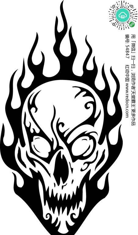 怪物骷髅头 黑白线描 005矢量图 54847 其他人物