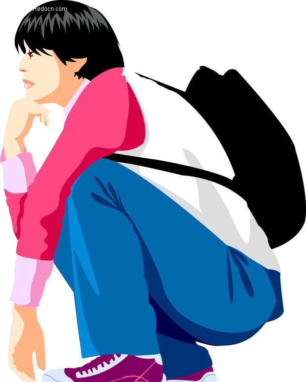 背着书包蹲在地上的男人-矢量男性|男人矢量图下载