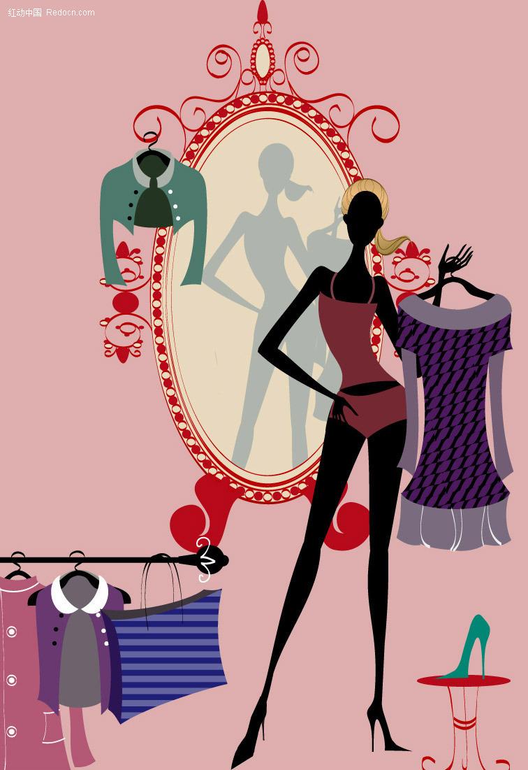 照镜子换衣服 美女矢量图|女人矢量图|女性矢量素材