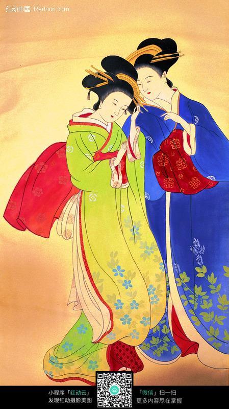 穿和服的日本女人图片 传统书画|吉祥图案|艺术图片