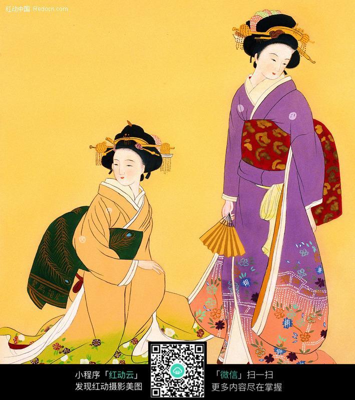 穿和服的日本女人图片编号:84528 书画文字