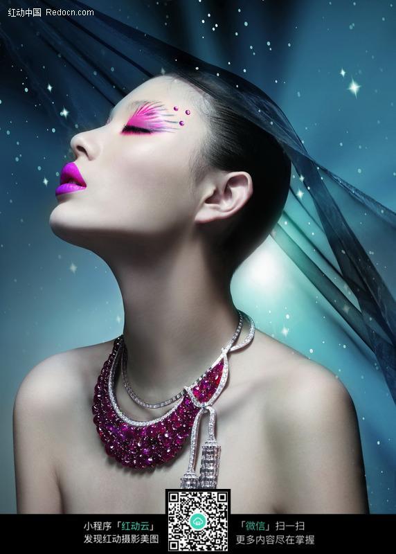 另类美女戴黑纱的美女有眼影的美女非主流时尚美女