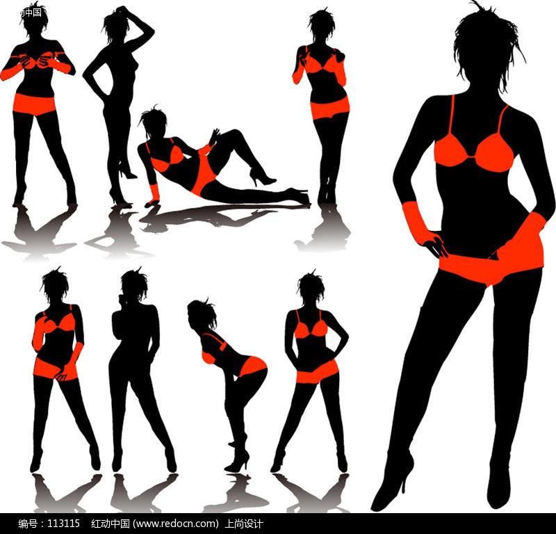 内衣模特剪影矢量素材 美女矢量图|女人矢量图