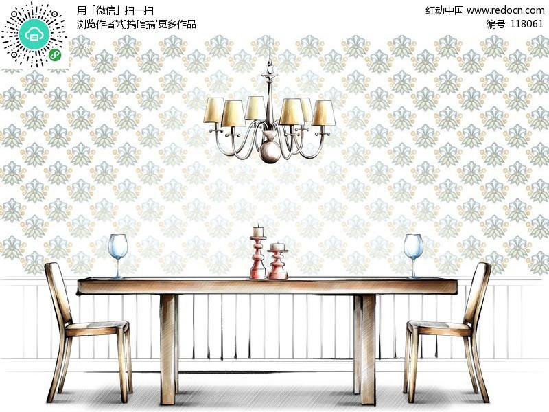 室内 餐厅手绘效果图 室内psd素材 ps室内平面