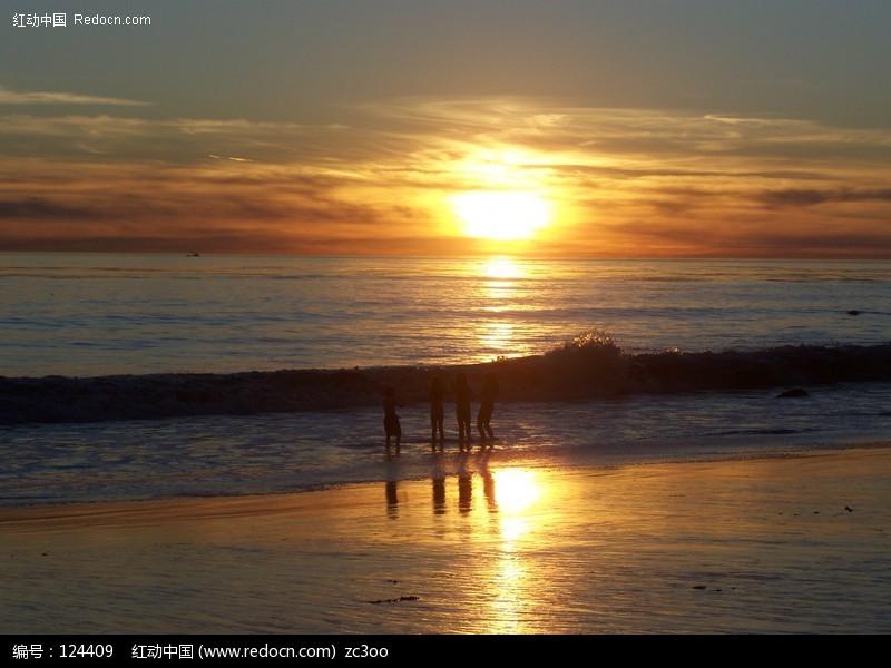 design 电脑壁纸 海滩夕阳夕阳海滩  都市风景 - 电脑桌面壁纸 高清