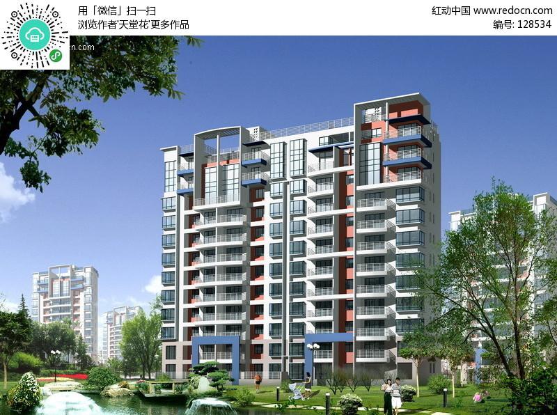 小高层住宅效果图设计图片 上海某住宅a 高清图片