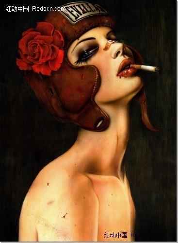 颓废抽烟美女插画绘画欣赏编号:127862