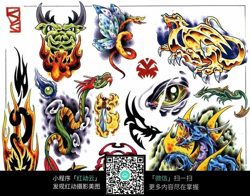 神龙彩色手绘纹身图案图片(编号:146176)