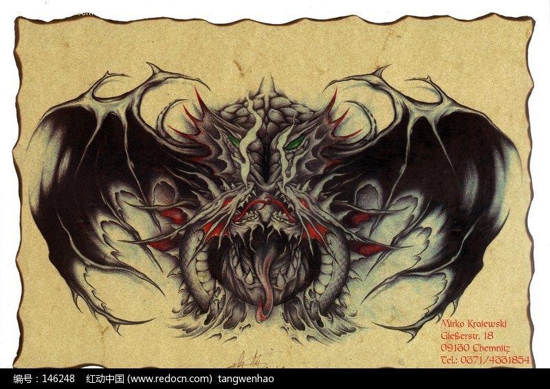 黑龙彩色手绘纹身图案设计图片