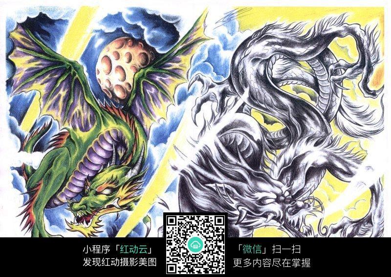 飞龙彩色手绘纹身图案设计图片