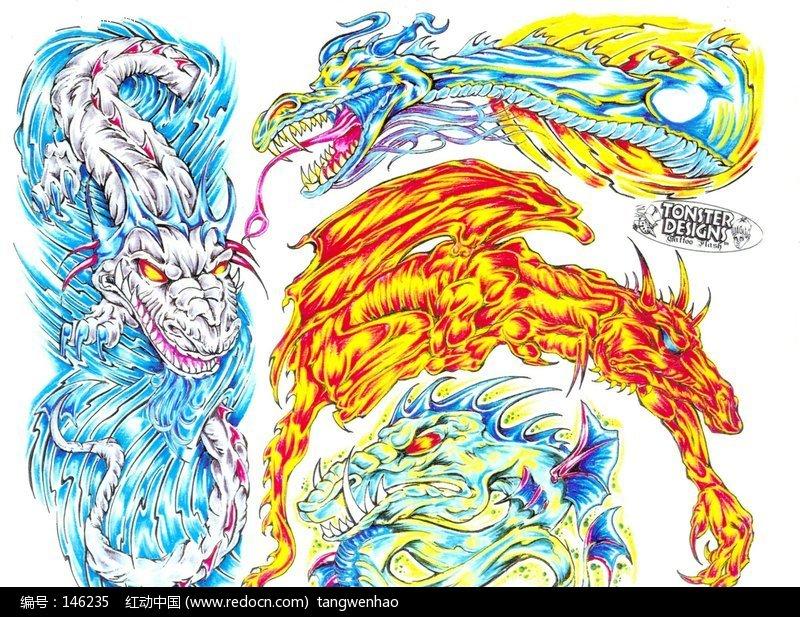 火龙和水龙彩色手绘纹身图案图片(编号:146235)