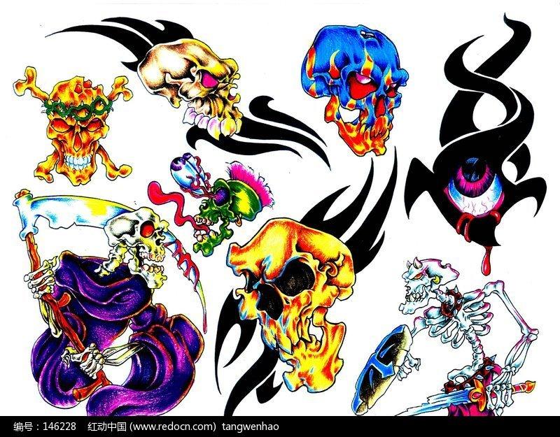 死神骷髅彩色手绘纹身图案 [图片.]