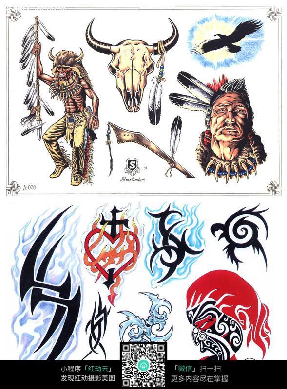 酋长彩色手绘纹身图案图片(编号:147343)