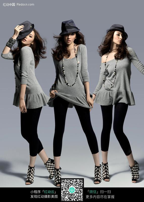 三种造型的服装美女模特图片图片编号:14810