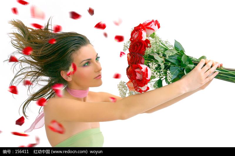 鲜花与外国美女图片编号:156411
