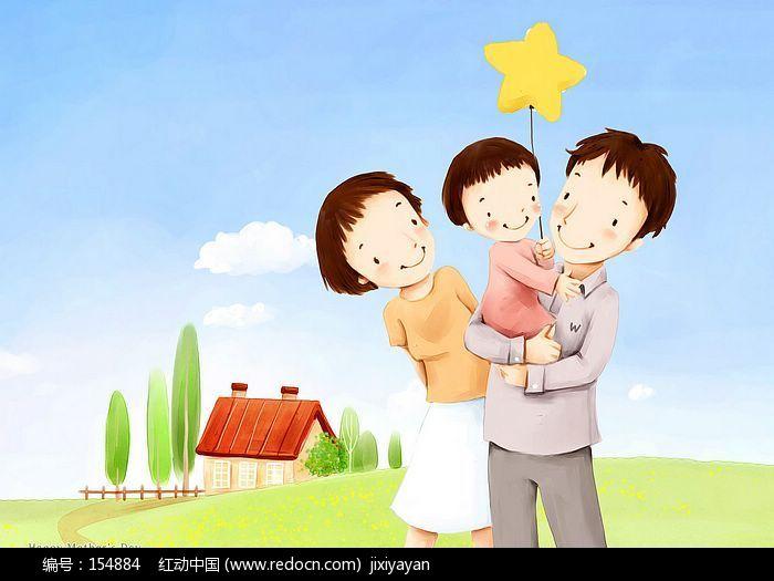 卡通人 照片人物变为 家人-手绘一家三口漫画照 一家三口牵手简笔画