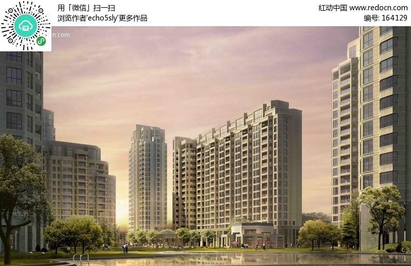 高层住宅区效果 图psd分层素材 ps 建筑效果 图 高清图片