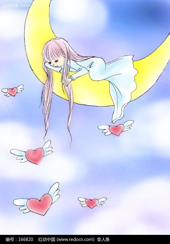 月亮上的小女孩绘画欣赏(编号
