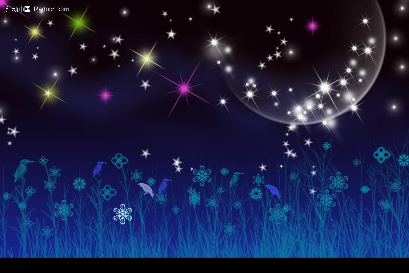 蓝色夜空闪亮<font color=red>星星</font>背景图片(编号:169559)_底纹
