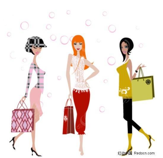 三个购物美女矢量图编号:177375 女性女人
