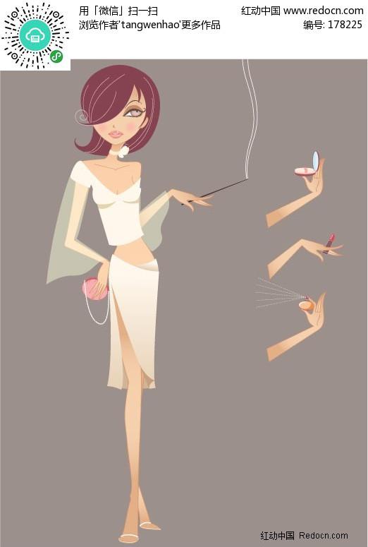 抽烟的美女矢量图编号:178225