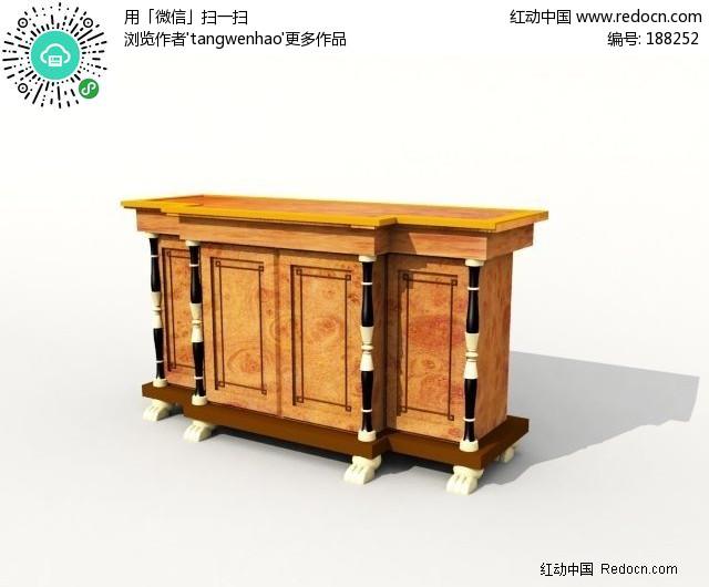 欧式矮柜3d模型图片