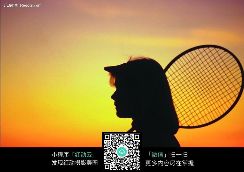 网球剪影_网球矢量图_人物剪影_日常生活
