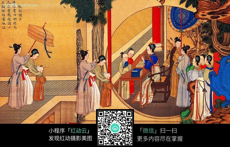 古代美女画画图