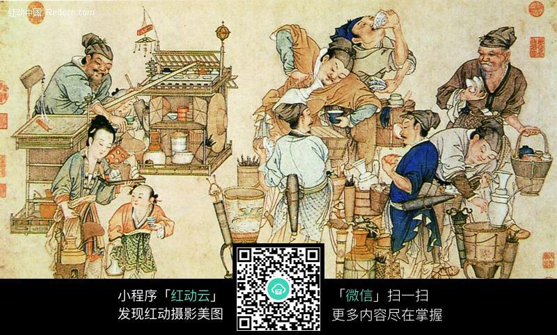 古代卖酒图图片-传统书画|吉祥图案|艺术图片下载(:)图片