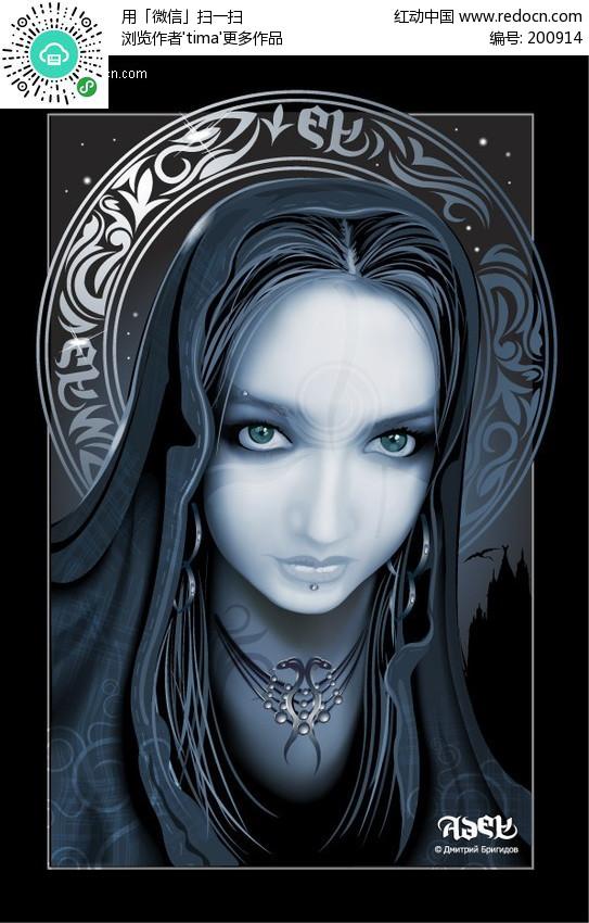 灵异美女 人物矢量图素材下载编号:200914