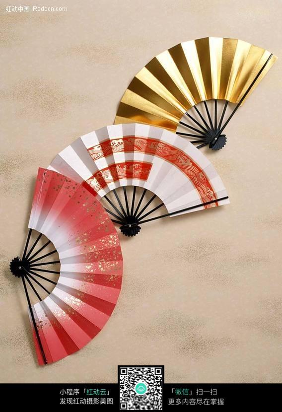 金色白色粉红色的日本折扇图片 生活用品|日常