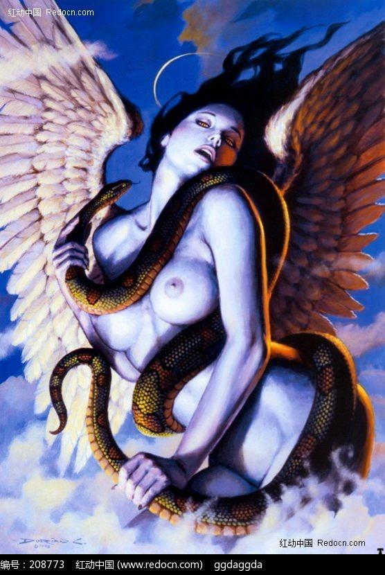 手绘裸体美女与蛇图片 漫画插画|绘画图片下载