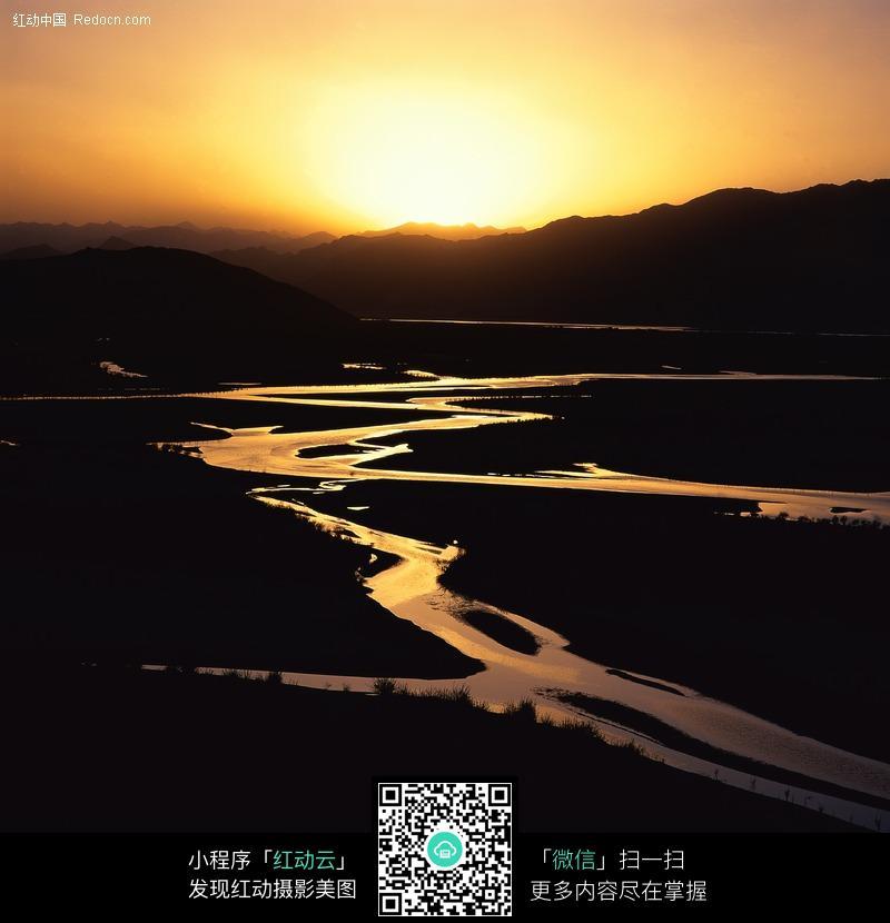 夕阳下的河流图片 风景图片|图片库|图库下载编
