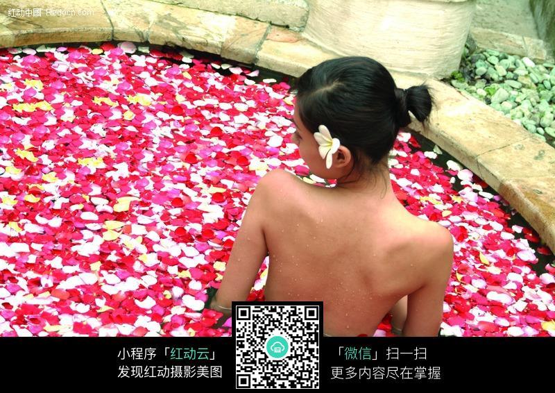 花瓣浴中美女的后背图片编号:216489