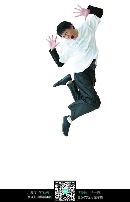 闭眼睛跳跃的男人图片 人物图片素材|图片库|图