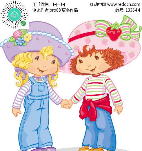 草莓妹妹和她的好朋友玫瑰姐姐-儿童宝宝矢量