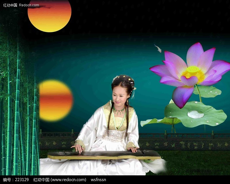 弹古筝的古典美女编号:223129