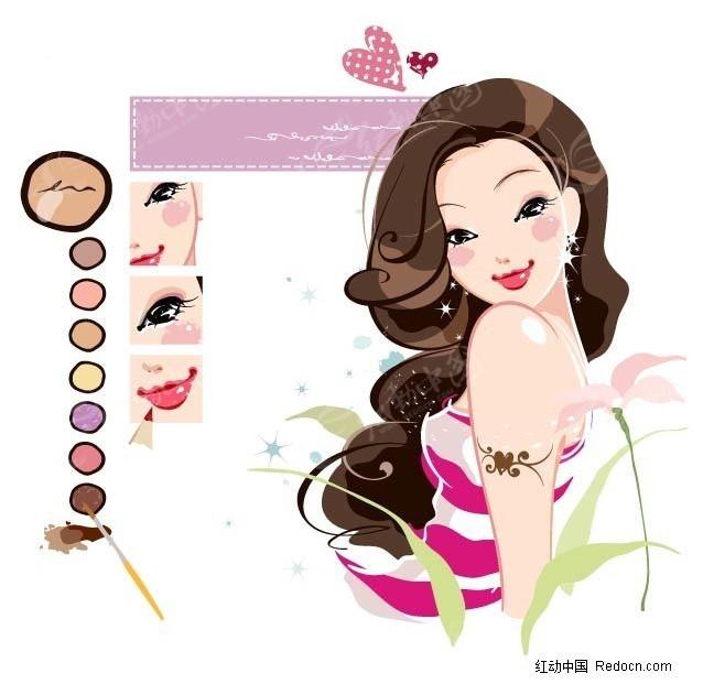 给自己化妆的美女