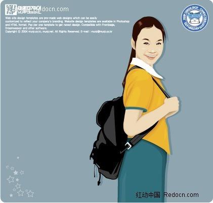 插画-背书包的女孩矢量图(编号:245307)