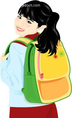 插画-背书包的小女孩-儿童宝宝矢量图下载(编号:)