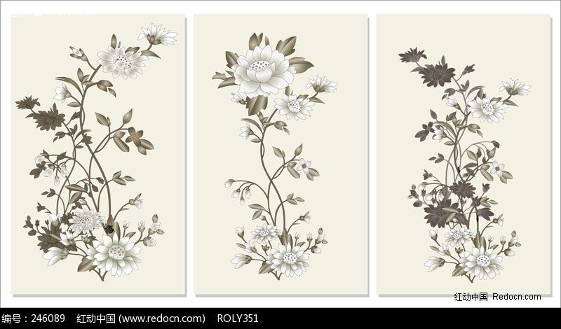 矢量花朵无框画图库                  [ai]  成品图片