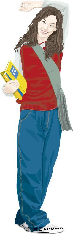 插画-背书包的女孩矢量图(编号:258325)
