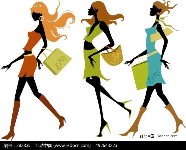 三款购物美女造型矢量图编号:282835