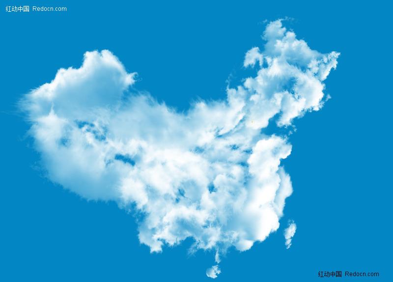 白云组成的<em>中国</em>地图psd分层<em>素材</em>-其他-PSD分