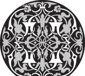 黑白适合纹样图案圆形内容|黑白适合纹样图案圆形版面设计图片