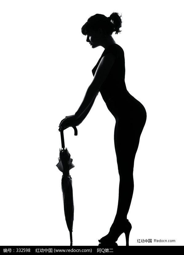 手拿雨伞的裸体女人黑色剪影图片编号:33259