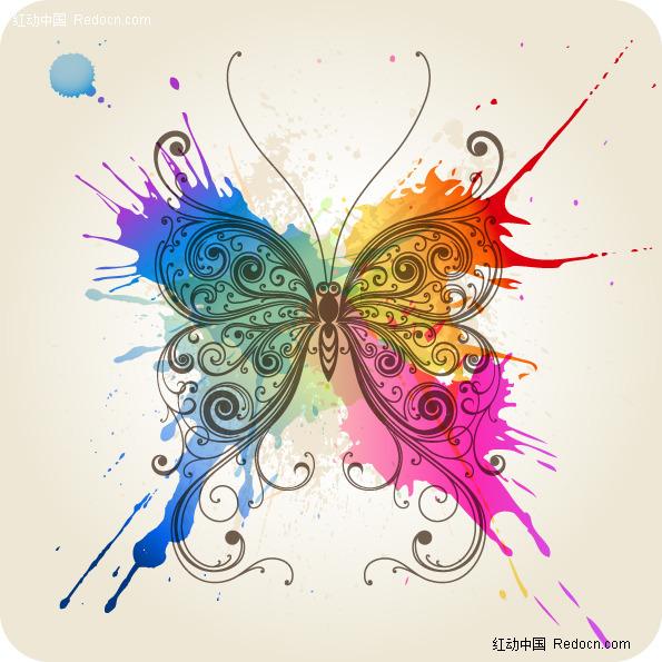 手绘黑白蝴蝶素材 手绘海报模板素材 手绘黑白花图片素材