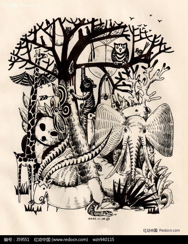 装饰画黑白线描风景 黑白花卉线描装饰画 线描装饰画作品图片